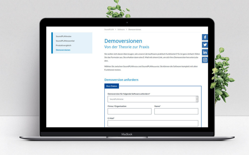 Download-Formular für die Demoversionen